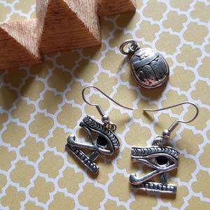 Egyptian earrings and scarab pendant set